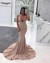 Elegant Deep V-neck Straps Satin Champagne Mermaid Long Prom Dresses 2019 With Train