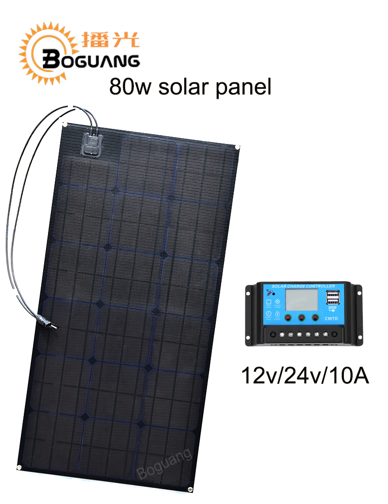 Boguang 80w solar panel ETFE Monocrystalline cell PCB module MC4 connector 10A controller 12v battery LED light RV yacht power high efficiency solar cell 100pcs grade a solar cell diy 100w solar panel solar generators