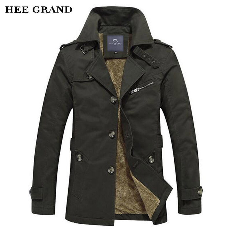 HEE GRand Men Thick Blends Fashion Style Stand Collar Single Breasted Windproof Warm Winter Coat Plus Size M-5XL MWF310