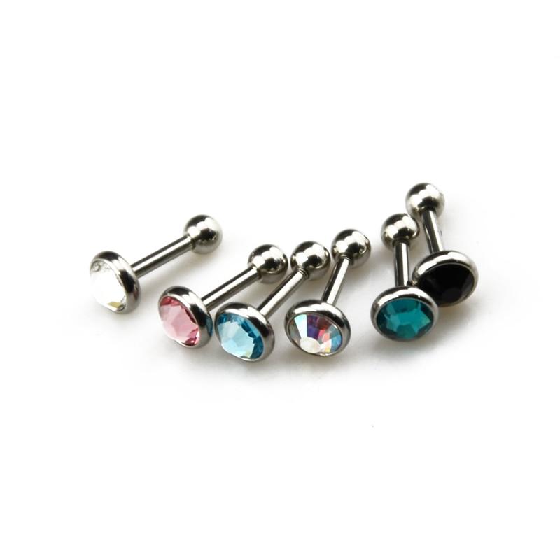 Fake Plug piercing mancuerna pendientes 5 colores elegibles con cristales