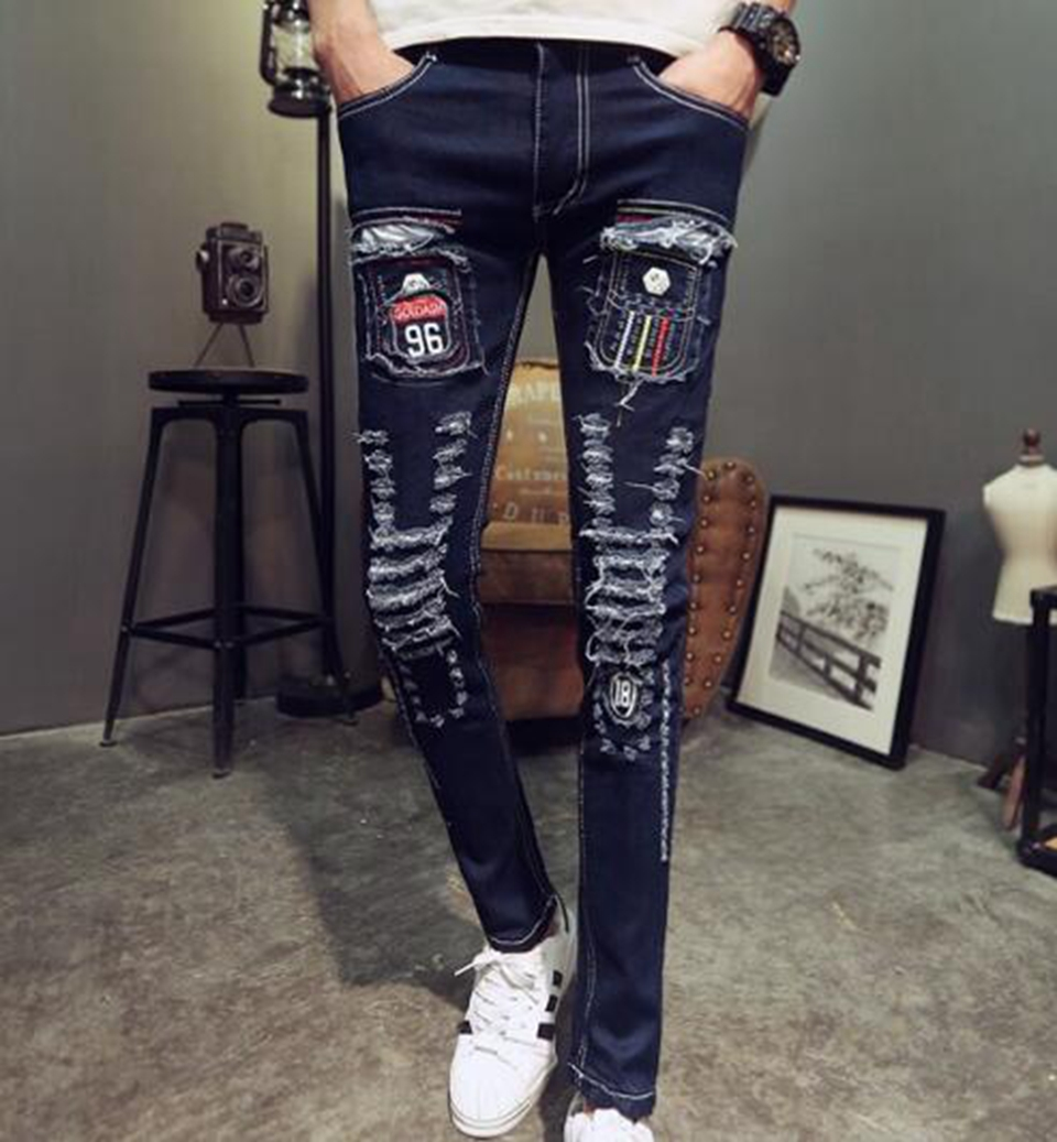 Mens spring and autumn fashion leisure new style fitness trend of the Korean version of the young cowboy stretch pants / 28-32
