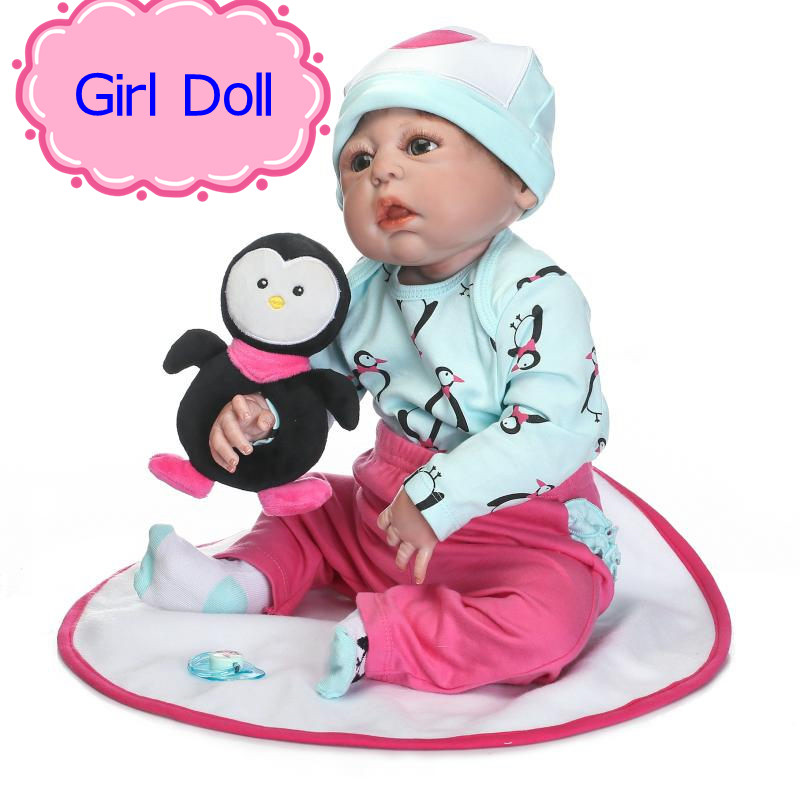 NPK 22INCH Reborn Dolls Full Silicone Doll Reborn Baby Toys For Girls Birthday Gift,Silicone-Reborn-Babies With Fashion Clothes full silicone reborn dolls