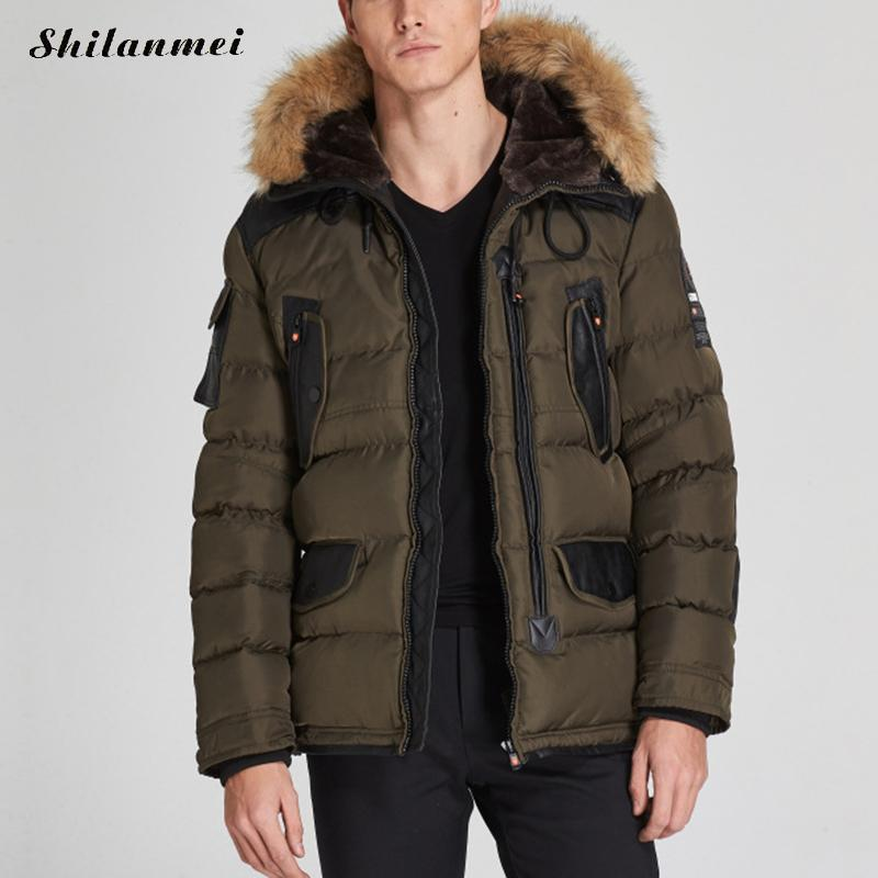 Men's Parkas With Hat Green Winter Jacket For Men Zipper Blakc Patchwork Straight Male Coat Dark Blue Thicken Warm Outwear M-XXL куртка turbokolor ewald plus jacket fw13 dark green l