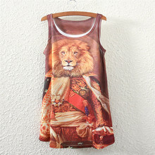 2017 summer new style female sleeveless woemn t shirt Lions general logo lady Loose Short sleeve