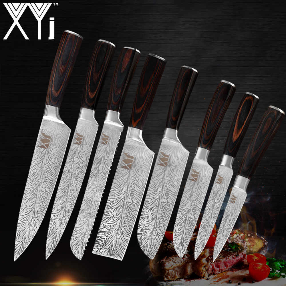 XYj Professional Kitchen Knife Set Feather Pattern Stainless Steel Chef Knives 7Cr17mov Laser Damascus Cooking Knife WholeSale