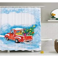 Vixm Christmas Shower Curtain Vintage Red Truck in Snowy Winter Scene with Xmas Tree and Gifts Candy Cane Kids Fabric Decor