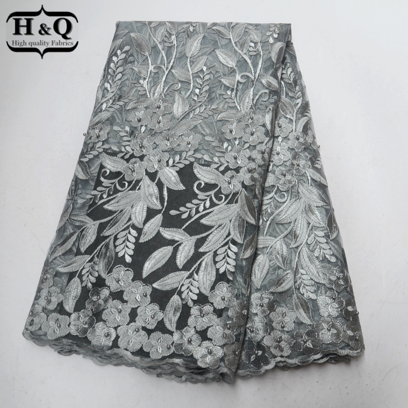 Gray African Lace Fabric 2018 High Quality French Tulle Lace Embroider With Beads 5 Yards Net