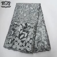 Gray African Lace Fabric 2018 High Quality French Tulle Lace Embroider With Beads 5 Yards Net Lace Nigeria Lace For Wedding