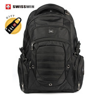 Swisswin Brand Men S Black Backpack Swiss Big Travel Backpack Waterproof Men Bagpack 15 6 Laptop