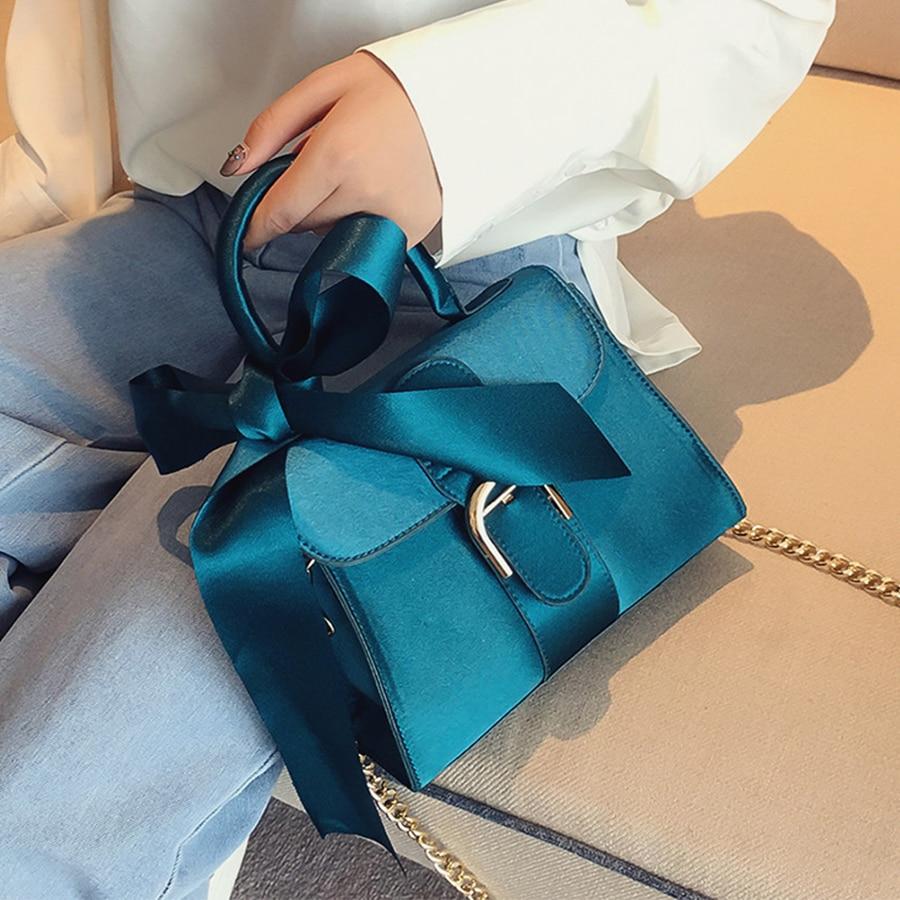 Luxury Bowknot Messenger Bags Women Chains Flap Bag Ladies Fashion Solid Color Shoulder Bags Female Designer Black Handbags