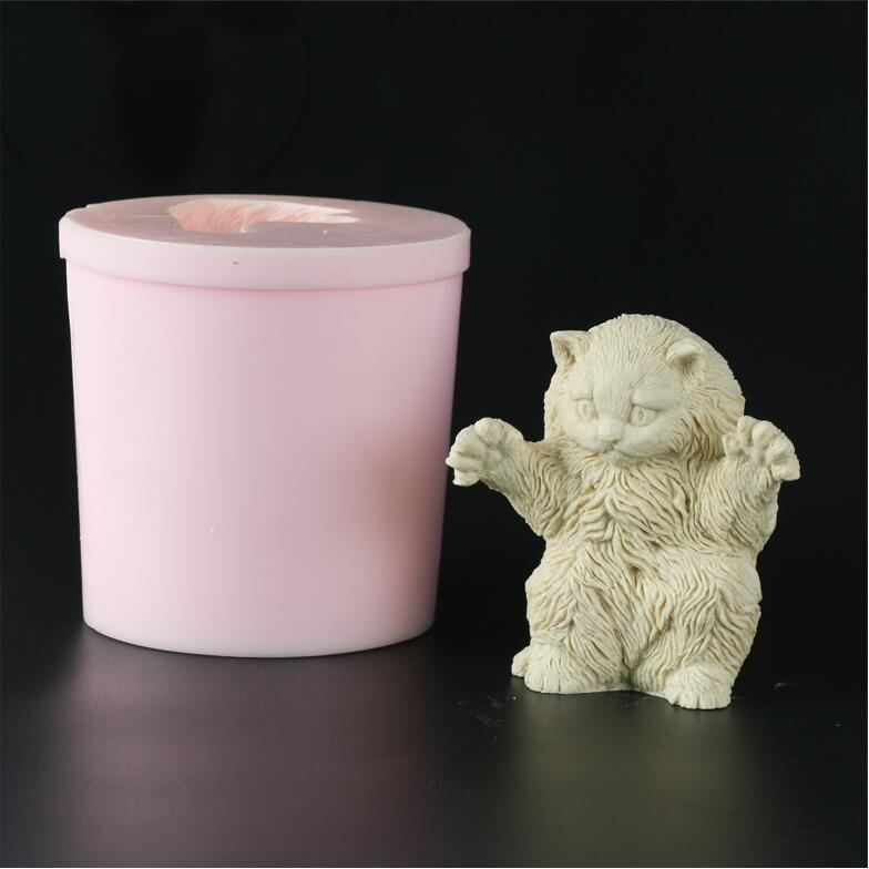 Silicone Mold 3D Cute Fat Cat Animal Silicone Mold Decoration Candle Soap Cake Aroma Stone Mould Clay Resin Silica Gel Mould
