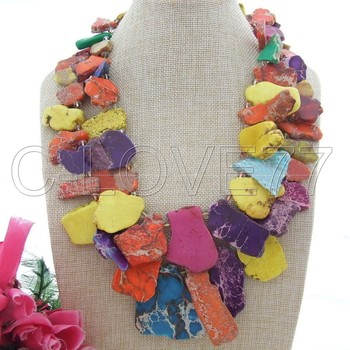 "21"" 2Strands Multi Color Sea Sediment  emperor stone  Necklace free +shippment"
