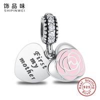 Shipinwei 925 Sterling Silber Charme Meine Mutter Sie Sind Die Erste In Meinem Herzen Perlen Fit SPW Armbänder perlen für schmuck machen