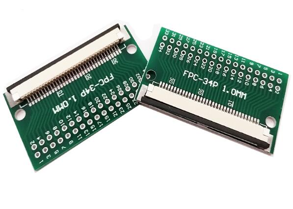 10pc FFC <font><b>FPC</b></font> <font><b>34PIN</b></font> transfer board with 1MM <font><b>connector</b></font> Soldered FFC to DIP 2.54 TFT LCD panel 1mm 0.5mm pitch pcb double sided image