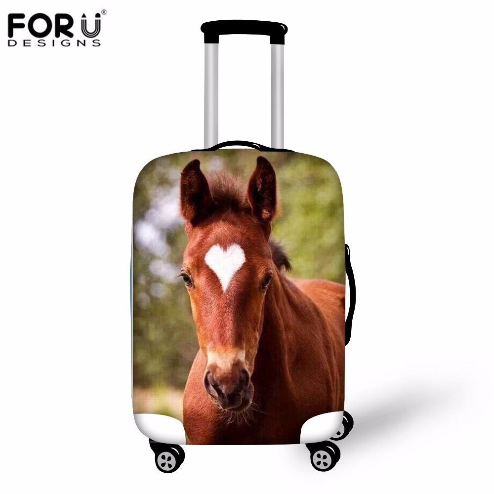 FORUDESIGNS 3D Horse Animal Elastic Travel Bag Luggage Protective Covers For 18-30 Inch Trolley Suitcase Dust Cover With Zipper