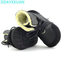 Genuine Leather Child Slip Resistant Female Snow Boots Child Boots Male Medium Leg Child Cotton Padded