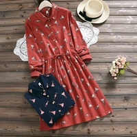 Female Sweet Flowers Print Dress 2018 New Spring Fall Vintage Vestidos Women Long Sleeved Cotton Dresses