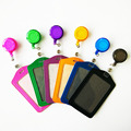 Cheap Bank Credit Card Holders PU Card Bus ID Holders Identity Badge with Retractable Reel wholesale
