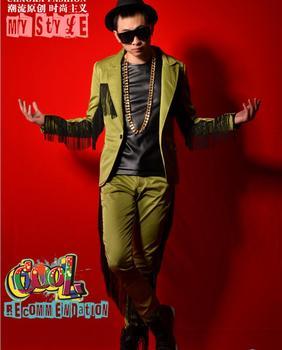 S-5xl 2020 New Men's Clothing Fashion Dj Army Green Tassel Suit Plus Size Men Blazer Brand Party Masculino Suits