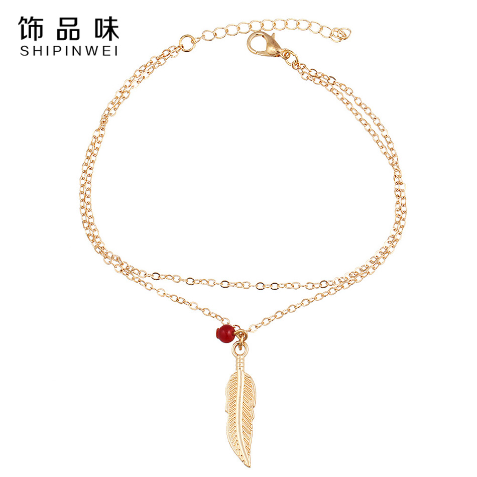 Shipinwei 2018 New Arrival Gold/Silver Color Leaf Charms Anklet Bracelets for Women Summer Beach Foot Jewlery Women Gift