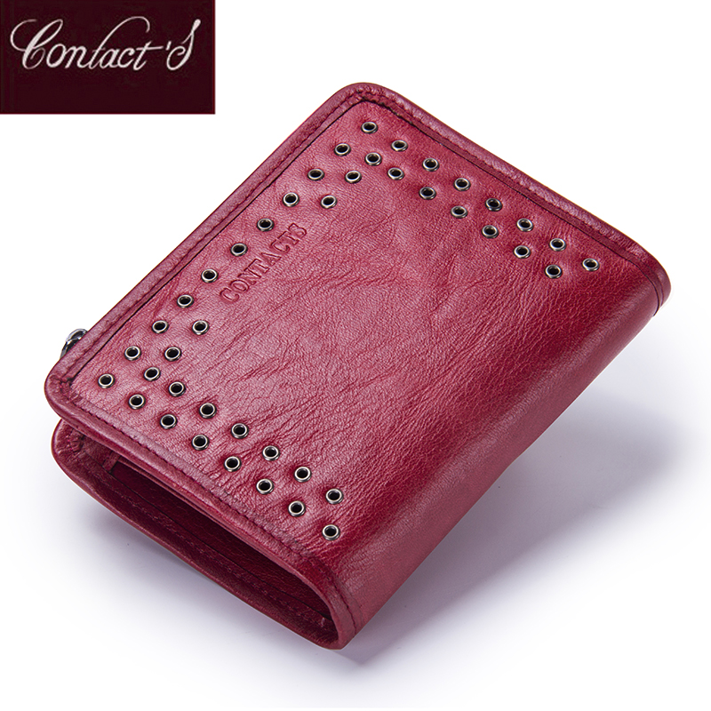 Contact's New Genuine Leather Wallet For Women Vintage Brand Small Short Ladies Purse Zipper Pocket Coin Organizer Wallets Red
