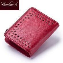 Kontakts nowy portfel z prawdziwej skóry dla kobiet w stylu Vintage marka małe krótkie panie torebka kieszeń na suwak monety organizator portfele czerwony