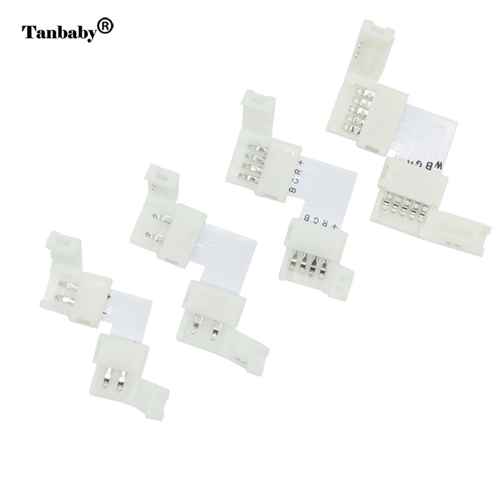 Tanbaby 5pcs L Shape LED Strip connector 2pin 8mm, 2pin 10mm, 4pin, 10mm,5pin 12mm solderless Connect for 3528 5050 5630 strip led connector 2 pin 3 pin 4 pin solderless for 8mm 10mm 5050 3528 ws2811 ws2812b 5630 5730 smd led strip 5pcs lot