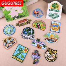 GUGUTREE embroidery lotus sun star buttlefly patches sunflower letter badges applique for clothing YX-288