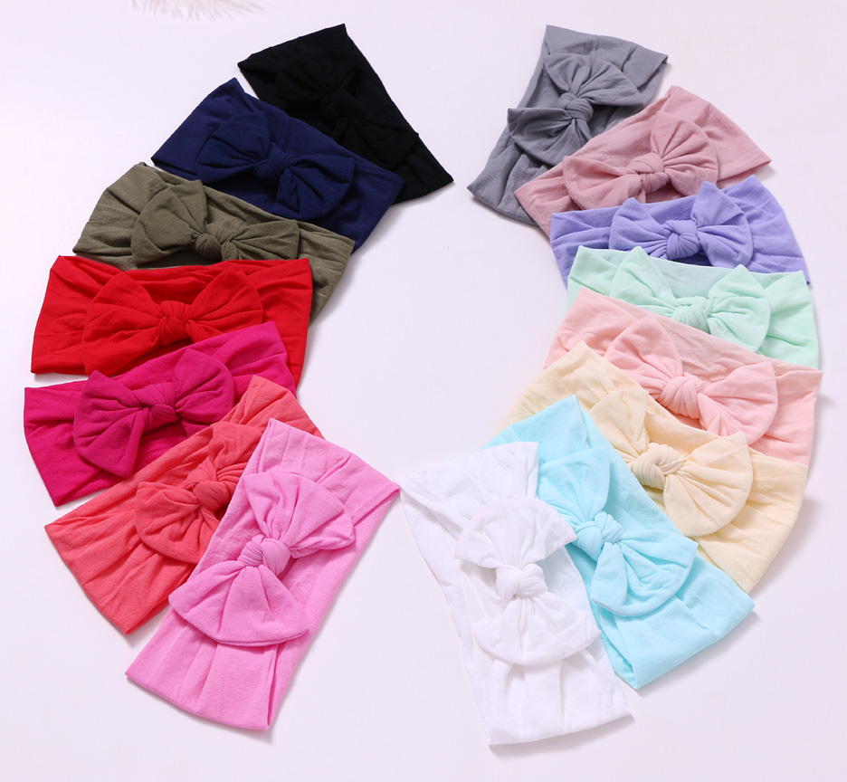 15 pcs/lot , Knot Bow Nylon Headbands, Wide Turban Head Wrap One size fits most Girls Hair Accessories