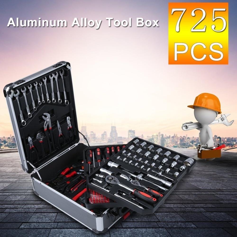 725pcs/set Professional Aluminum Alloy Trolley Case Home Auto Repair Car Care Maintenance Tool Box Set Workshop Equipment