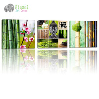 3 Panel Buddha Canvas Print Bamboo Zen Stone Flower Peaceful Buddha Act With Compassion Religious Style