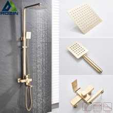 Shower Faucet Brushed Gold Swivel-Bath-Spout Stainless-Steel Rainfall In-Wall Black 8-
