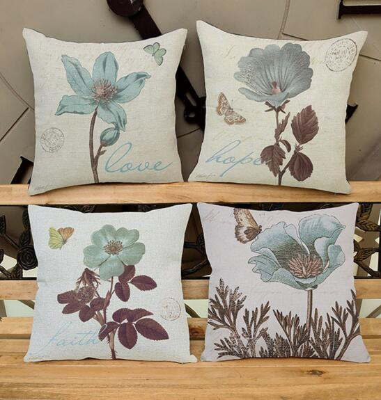 New creative Plant Europe flowers printed linen cushion Cushion Cover covers sofa bed ca ...