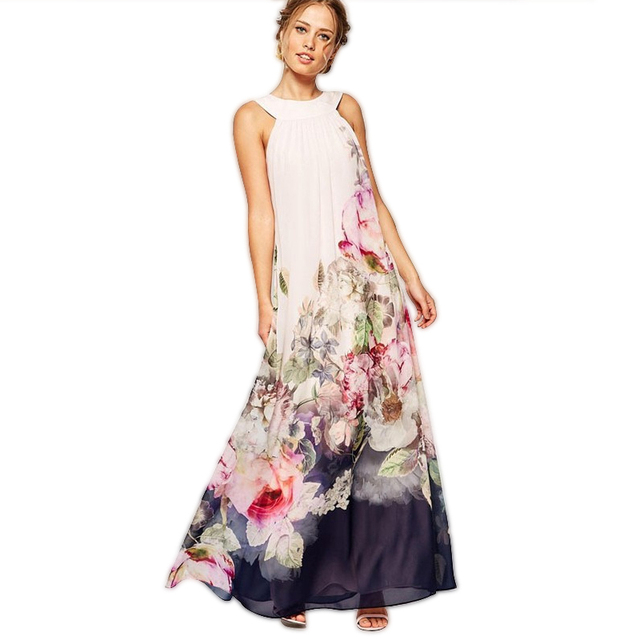 Women Maxi Dress Summer Style O-neck SLeeveless Floral Printed Dresses  Party Dress ONY6076 daa8973d1d08