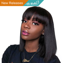 Short Human Hair Wigs For Black Women Ali Grace Peruvian Remy Hair Lace Front Wigs With Pre Plucked Hairline Blunt Cut Bob Wigs(China)
