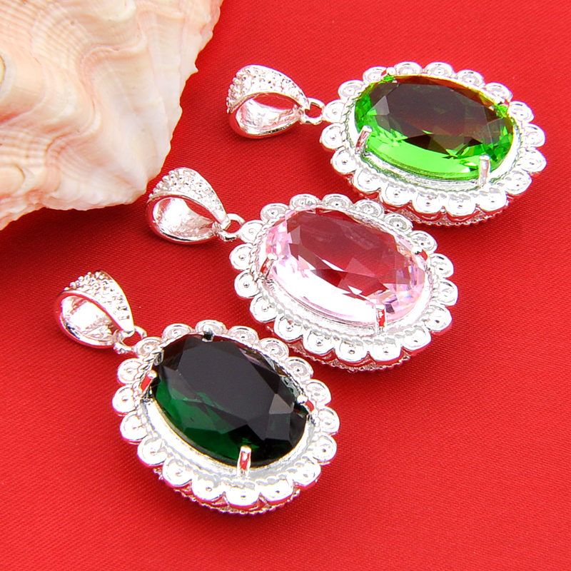 Luckyshine Bulk Mix Color 3pcs Florid Dark Green Created Quartz Silver Plated Pendants Russia Usa Canada For Necklaces In From Jewelry
