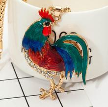 2017 New Hot Style Multicolor Opals Cock Rooster Chicken Necklace Crystal Rhinestone Necklaces Pendants For Women best gift