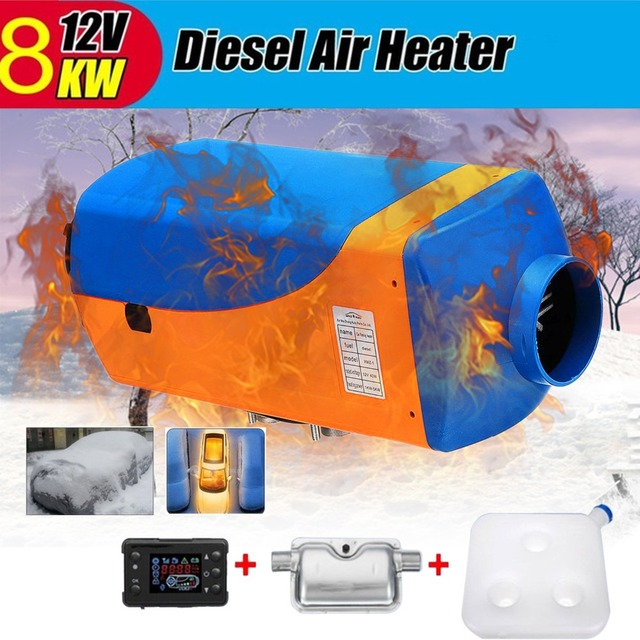 8kw/12v Single Hole LCD Silencer Diesel Air Heater 8000W Car Heating Truck Motor-homes Boat Van Blue&Orange