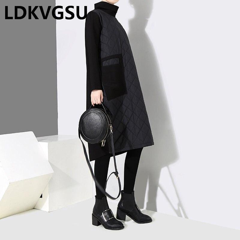 Couture Chaud Haute Hiver Noire Nouvelles Robe Is1445 cou Grande Femme Automne Parkas 2018 Lâche Taille Épaississent Black Femmes CBodrxe