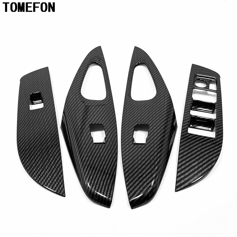 TOMEFON pour Toyota Corolla hayon LHD 2019 fibre de carbone ABS mat intérieur lève-vitre bouton de commutation garniture de panneau