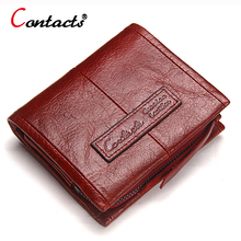 CONTACT'S Genuine Leather women Wallet Women coin Purse female clutch bag ladies money card holder small wallet with coin pocket