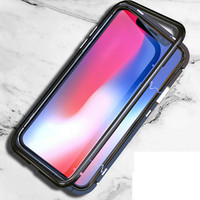 Ultra Thin Tempered Glass Case For Iphone X 8 7 Plus Magnetic Metal Frame Glass Back
