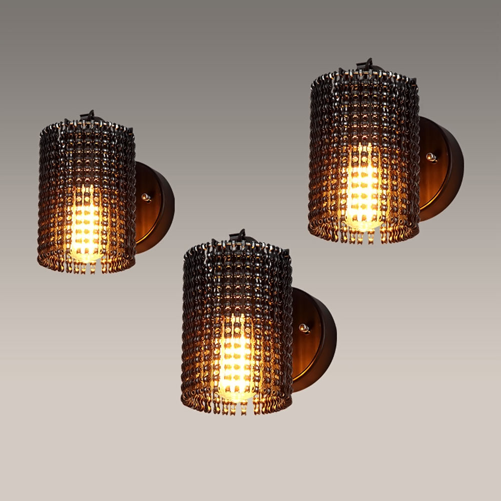 Modern wall lamps sconces iron bicycle chain for restaurant bedroom decorative wall lights lamparas home lighting fixture in led indoor wall lamps from