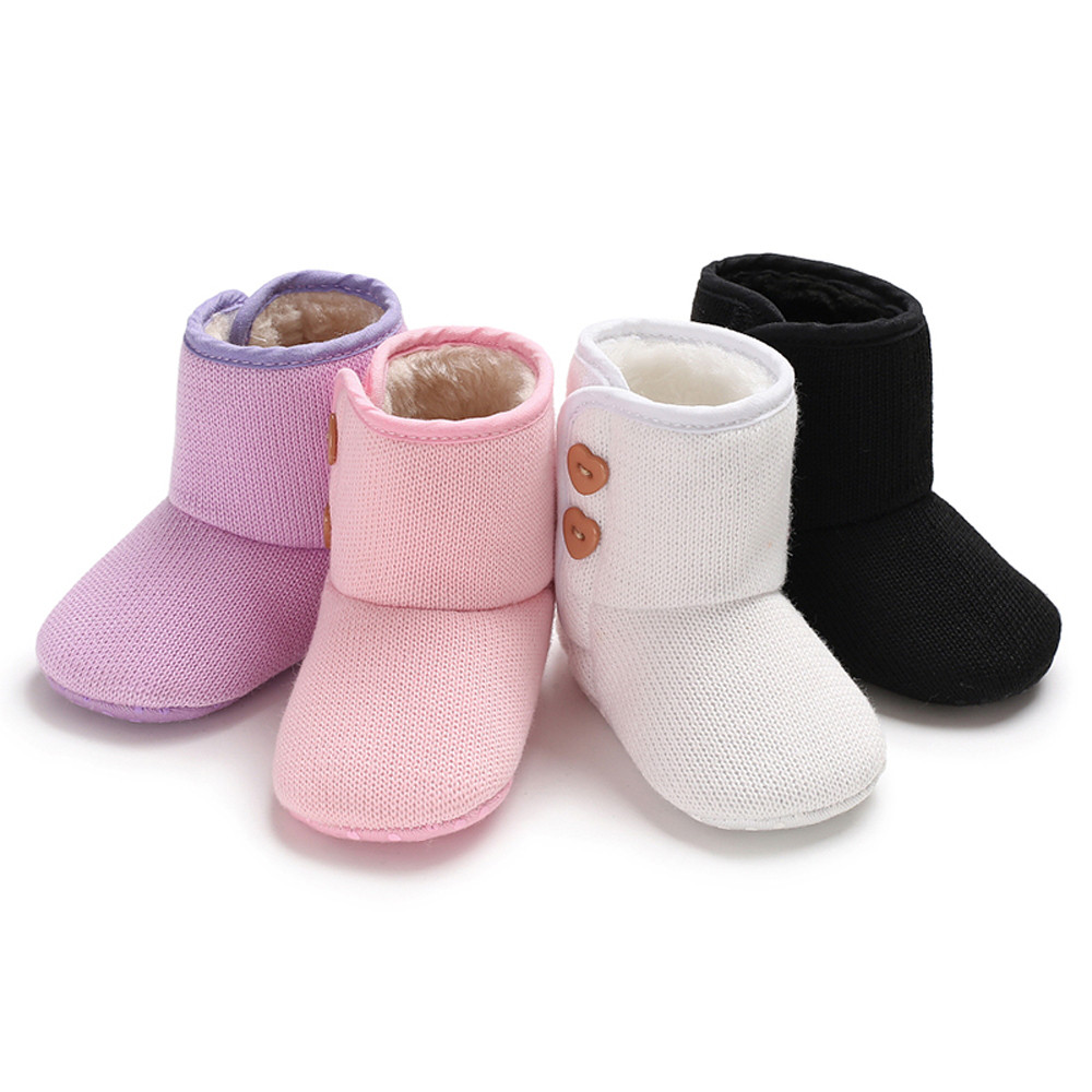 Baby Winter Cute Boots Warm Girls Cashmere Solid Colors Autumn Winter Keep Warm Button Boots Prewalker Slofjes Baby Botas Shoes