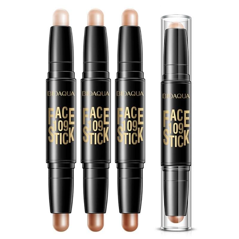 Makeup Face Concealer Pencil Double-end Make Up Waterproof Eyebrow Pen + Foundation Base Contour