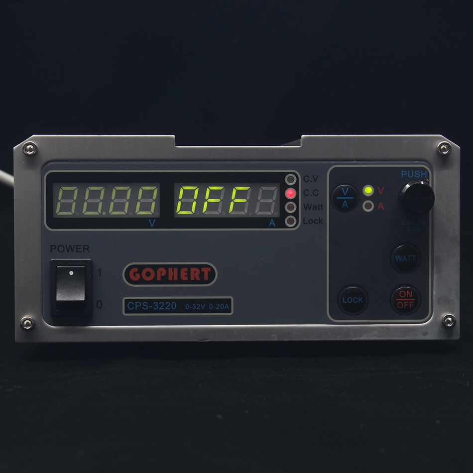 CPS-3220 DC fonte de Alimentação EU/REINO UNIDO/EUA adaptador OVP/OCP/OTP baixo consumo de energia de 110 V- 230 V 0-32 v 0-20A