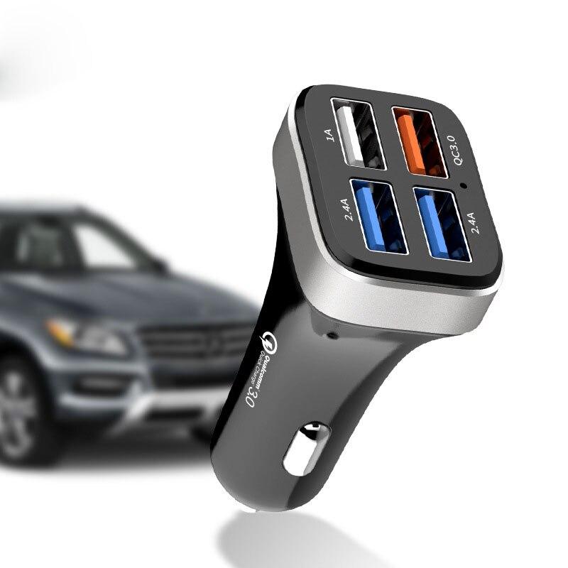 Новейшее автомобильное USB зарядное устройство Быстрая зарядка 3,0 зарядное устройство для мобильного телефона 4 порта USB быстрое автомобильн...