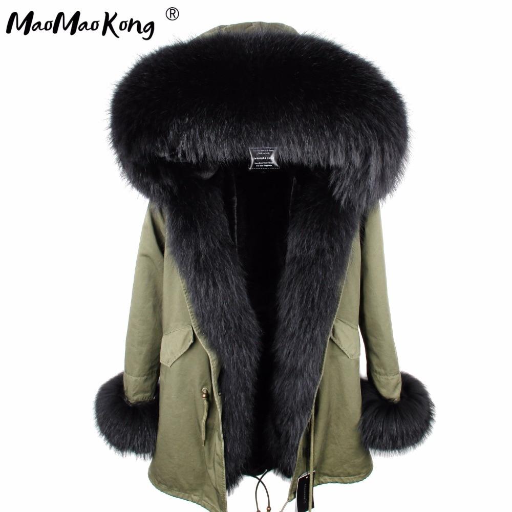 abrigos mujer invierno 2018 mini True Fur Parka women winter  Hooded jacket coat Parkas faux fur coat Lining jacket long coatParkas