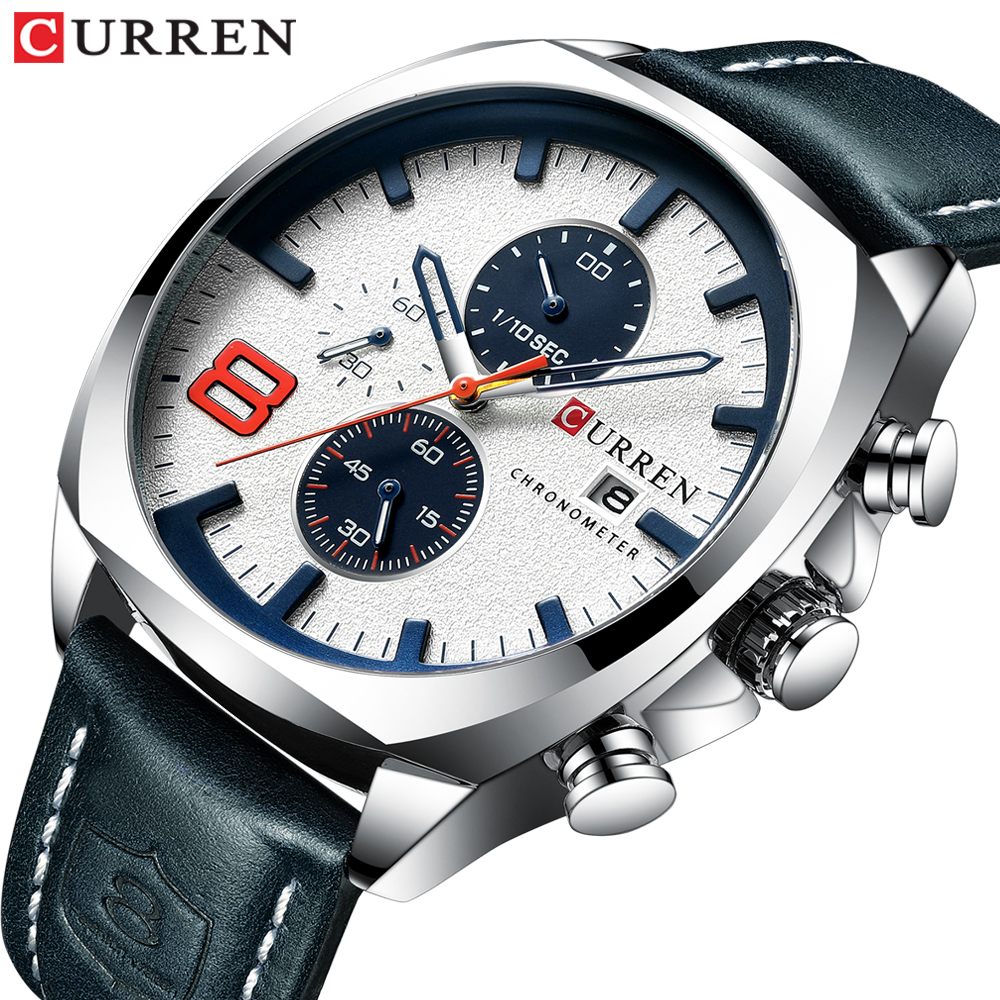 2019 Mens Watches Top Brand Luxury CURREN Military Analog Qu