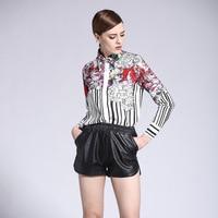 Flower Printed Turn Down Collar Striped Casual Fashion Summer Women Slim T Shirt Ruway Silk Blouse